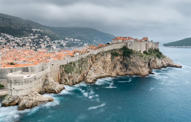 Summer storm clouds gather over the walls of the city of Dubrovnik in Croatia.